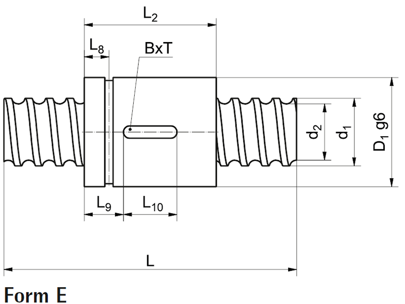 Ball screw with cylinder nut KGT-Z